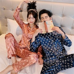 Wholesale pyjamas men for sale - Group buy 2020 Summer Couple Silk Satin Short Sleeve Long Pants Pajama Sets Women Print Flower Printed Sleepwear Pyjama Men Homewear Pijama Mujer C