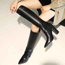 clear plastic boots women 2021 - MORAZORA Plus size 34-48 New women boots slip on thick high heels knee high boots women shoes fashion western winter