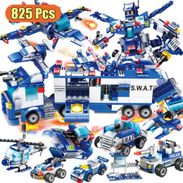 toys police truck Canada - City Police Department Car Building Blocks Helicopter Room Truck Technology Construction Toys Technology Special Police World Wa X0102