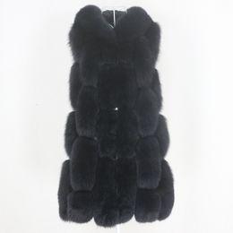 Wholesale black hooded fur vest resale online - OFTBUY New Black Real Fur Coat Winter Jacket Women Natural Fox Fur Vest Real Sheepskin Leather Hood Thick Warm Outerwear