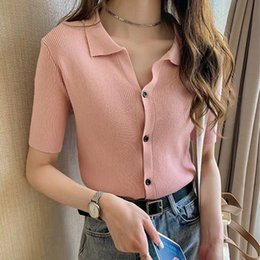 Wholesale new style women polo shirts for sale - Group buy CNOIG Polo collar T shirt women s new summer style short casual ice Coat T shirt top cardigan lazy silk sleeve top cFUEE