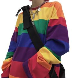 Wholesale rainbow shirts online – design Rainbow Striped Women T Shirts Harajuku Fashion Female Tops Long Sleeves Oversize Woman Tshirt O Neck Casual Female T shirts