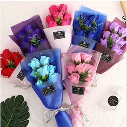 7 Red Rose Simulation Flower Valentines Day Manual Artificial Flowers Multi Color Soap Small Bouquet Gifts Packing Paper Rope 4 3jh L2 on Sale