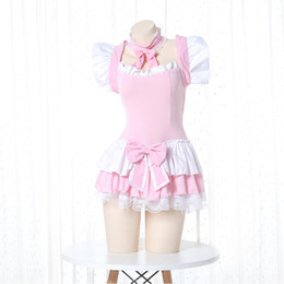 Wholesale lolita maid outfit for sale – halloween Lolita Cute Lolita Dress Pink Maid Outfit Japanese Anime Cosplay Costume Apron Maid Uniform Kawaii Nightdress Outfit for Woman