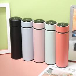 Großhandel Neue Art und Weise intelligente Becher Temperaturanzeige Vakuum Edelstahl Trinkflasche Kessel Thermobecher mit LCD-Touch-Screen-Geschenk-Cup DBC 500ML