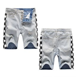 Wholesale tight light blue men resale online – designer Jedty summer street trendy holes High five point shorts with men s white blue Tight Pants jeans and jeansprinted black and light racing leggi