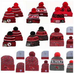 Wholesale official tops online – design Top Arizona Cardinals Men Women Youth Sideline Home Official Sport Knit Hat Black Football Cap Red