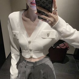 Wholesale rhinestone zipper cardigan resale online – LWLxu new fashionable sexy open waist decoration Button knit cardigan waist open fashionable short Rhinestone Rhinestonesexy new F6