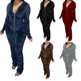 Frauen Velour Stacked-Overall-Spielanzug Grau Hoodies Fall Stapel Langarm Hooded Zipper Up V Red Female Jumpsuits Schwarz