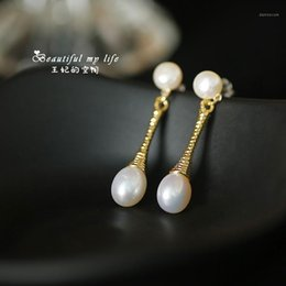 Wholesale 100% Natural Fresh Water Pearl Handmade Drop Earring For Women Earrings Jewelry Orecchini Donna1