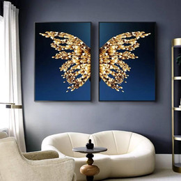 butterfly art painting Canada - Modern Wall Art Pictures Canvas Painting Decoration Golden Butterfly Prints Poster for Living Room Nordic Bedroom Home Decor