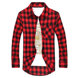 Wholesale black red checkered shirt for sale - Group buy Men Plaid Shirt Korean Classic Checkered Long Sleeve Casual Shirts Camisa Masculina Slim Fit Men s Clothing Red Black