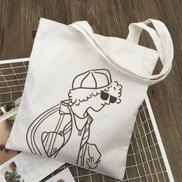 Wholesale graphic designers for sale - Group buy Women Reusable Canvas Grocery Tote Shoulder Shopping Bags Original Designer Character Print Graphic Harajuku Cloth Bag Q1230