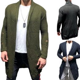Wholesale sweater holes sleeves for sale – oversize Men Cardigan Long Sleeve Hole Casual Style Sweater Holes Mens Mid length Cardigan Sweater Knitwear with Colors