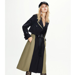 Wholesale fashionable woman s winter coat resale online - Women Fashion Clothing New Design Of Autumn And Winter Color Contrast Windbreaker Extended Fashionable Trench Coat