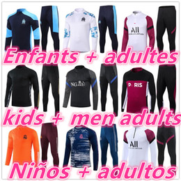 erkekler jogging eşofman toptan satış-20 kids Niños men adultos ajax on marseille real madrid psg chandal futbol chándal de fútbol soccer tracksuit football training suit