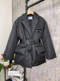 Womens Jacket Down Coats Winter Long Coat Fashion Style With Belt Corset Lady Slim Fashion Jackets Pocket Outsize Warm Coats on Sale
