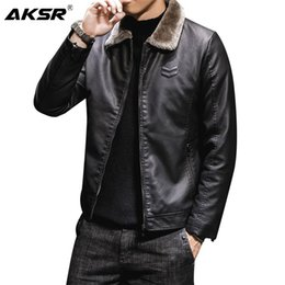 Wholesale black moto pu jacket resale online - 2020 Men s Leather Jacket Fur Collar Solid Plus Velvet Thick Faux Leather Coat Men Clothing PU Fashion Classic Moto Biker Male