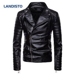 Wholesale classic leather jacket styles resale online – Landisto Hot Sale Autumn Clothing Motor Style Men Classic Diagonal Zipper Mens Leather Jacket