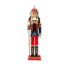 miniature christmas toys UK - 38cm Wooden Nutcracker Doll Soldier Miniature Figurines Vintage Handcraft Puppet toys New Year Christmas Ornaments Home Decor 201203