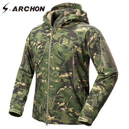 men s tactical jackets Canada - S.ARCHON New Soft Shell Military Camouflage Jackets Men Hooded Waterproof Tactical Fleece Jacket Winter Warm Army Outerwear Coat 201109