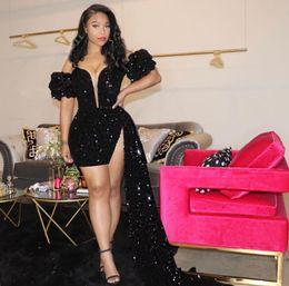 Wholesale Sparkling Black Prom Dresses 2021 Backless Evening Gown Pageant Women Sexy Short Party Wear Long Trail High Split Abiye Dubai Gowns Burgundy