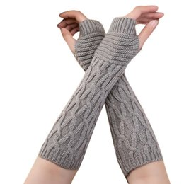 arm warmers for winter NZ - Hand Warm Female Fingerless Arm Warmers Solid Arm Sleeve Cuff Wool Knitted Gloves For Woman Winter Keep Warm High Elastic0.95 yxlOei