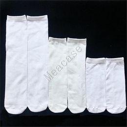 Wholesale Sublimation White Socks Thermal Transfer Plain Blank Double-sided Printing Stockings 15cm 20cm 24cm 30cm 40cm Unisex Casual Socks F102305
