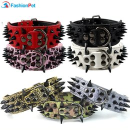 extra large dog collar mastiff NZ - Cool Sharp Spiked Studded PU Leather Dog Collar for Medium Large Dogs PitBull Mastiff Boxer Bully 1020