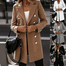 woolen coat women high collar 2021 - 2020 New Collared Woolen Trench Parkas Long Jacket Overcoat Winter Warm Fashion Coat Solid Women Ladies Outwear High Quality