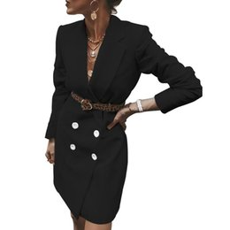 Wholesale double breasted trench dress resale online - Fashion Women Trench Elegant V Neck Long Sleeve Double Breasted Blazer Causal Office Ladies Mini Dress Top Formal Clothes Autumn
