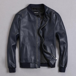 Wholesale genuine leather bomber men jacket for sale - Group buy Men s Leather Jacket Sheepskin Coat Bomber Genuine Leather Jacket Men Plus Size Short Jackets Veste Cuir Homme KJ2273