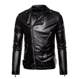 Wholesale black moto pu jacket resale online - Autumn Winter Men Leather Jacket New Men s Fashion Moto Biker PU Leather Jackets Coat Male Red Jacket