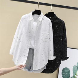 womens button down blouses NZ - Women Blouses Shirts Tunic Womens Tops Clothing 2020 Womenswear Long Sleeve Button Up Down White Star Print New Fashion Autumn