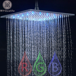 "shower head wall holder Australia - Black Rainfall Shower Head LED Light 16"" Large Rainfall Shower Faucet Head Square Brass Showerhead Color Changing Head 201105"