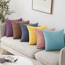 corduroy pillow covers Australia - 2pcs Soft Corduroy Cushion Cover Solid Pillow Case Yellow Gray Pink Decorative Pillow Cover 30x50 40x40 45x45cm 50x50cm