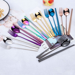 korean stainless steel chopstick Canada - New Portable 3pcs Set Travel Camping Flatware Set Stainless Steel Chopstick Fork Spoon Dinnerware Set Useful Wedding Gifts