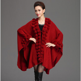Wholesale knitted rabbit poncho for sale - Group buy Fashion Trend Women Rabbit Fur Poncho Shawl Coat Long Knit Cashmere Cape Fur Sweater Pashmina Autumn Winter New LJ201203