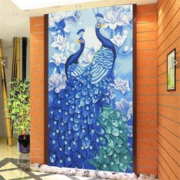 diy peacock home decor UK - HUACAN Special Shaped Diamond Diamond Peacock Animal 5D DIY Diamond Embroidery Rhinestone Mosaic Painting Home Decor 50x90cm 201202