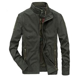 Wholesale blue military jacket mens online – oversize Autumn Jacket Men Casual Military Stand Collar Pure Cotton Mens Jackets And Coats Plus Size M XL chaqueta hombre