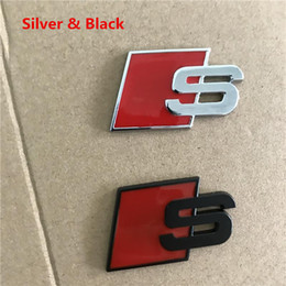audi s6 quattro 2021 - Fashional Metal S Sline Emblem Badge Car Sticker Red Black Front Rear Boot Door Side For Audi A4L A6L Quattro TT S3 SQ5 S6 S8 S Series