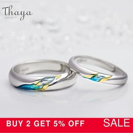 couple christmas gifts Australia - Thaya S925 Silver Couple Design Rings TheOtherShoreStarry for Women Men Resizable Symbol Love Wedding Jewelry Gifts LJ20