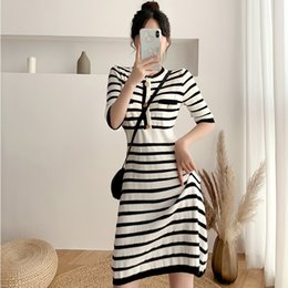 Wholesale french style dresses fashion for sale – plus size O9d6H Summer small Autumn New French dress style women s and waist fashion Western style high dress knitted Hepburn o1M58