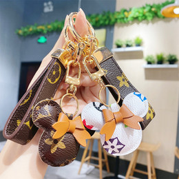 Wholesale old cartoons for sale - Group buy Mouse Design Car Keychain Flower Bag Pendant Charm Jewelry Keyring Holder for Women Men Gift Fashion PU Leather Animal Key Chain Accessories