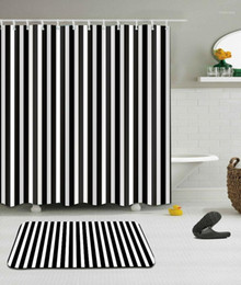 white bathroom curtains Australia - Black and White Shower Curtain Striped Bathroom Curtain Waterproof Polyester Fabric Fashion Bath Decor Ring Hooks Included1