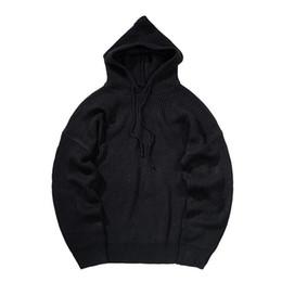 Wholesale knitted outerwear resale online - Men Oversize Streetwear Hip Hop Loose Knitted Hooded Pullovers Sweater Hoodie Male Casual Knit Sweatshirt Outerwear