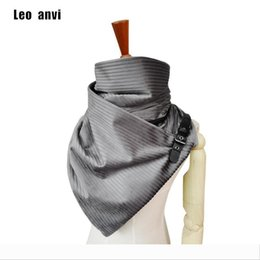 Wholesale leather ponchos for sale - Group buy Designer Luxury handmade cashmere scarf women fashion design stripe shawl foulard femme poncho with leather buckle bufandas muj