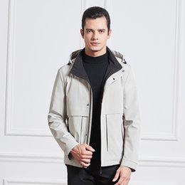 Wholesale british plus size clothing for sale – plus size White Jacket Casual Plus Size Winter Clothes Black Hooded Jackets Mens Business British Style Windbreaker