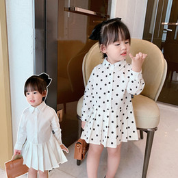 Wholesale turn style dresses resale online - INS Spring Autumn Kids Little Girls Dresses Korean Style Polka Dot Turn down Collar Lovely Cotton