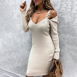 v neck cold shoulder dress UK - Cold Shoulder Patchwork Solid Knit Women Mini Dress Metal Chain V-neck Long Sleeve Sexy Dresses Woman Lady Vestidos 2021 new1